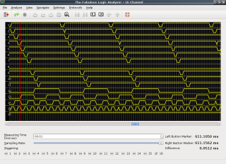 TFLA-16 screenshot showing the signals in/out of a 7442 logic IC.